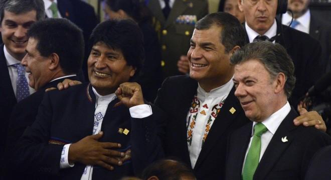 Los presidentes Evo Morales, Rafael Correa y Juan Manuel Santos el día de la asunción de Macri.