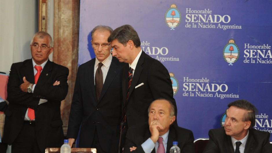 Los jueces de la Corte Suprema, Carlos Rosenkrantz y Horacio Rosatti, cuando expusieron ante el Senado.