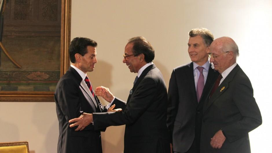 Peña Nieto, Salazar Lomelín, Macri y Rocca en julio del 2016.