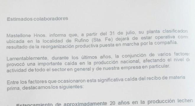El comunicado de La Serenísima.