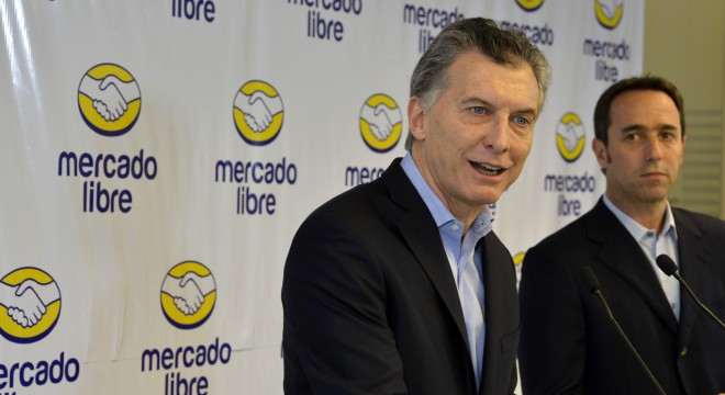 Mauricio Macri junto a Marcos Galperín, CEO de Mercado Libre y uno de sus empresarios favoritos.
