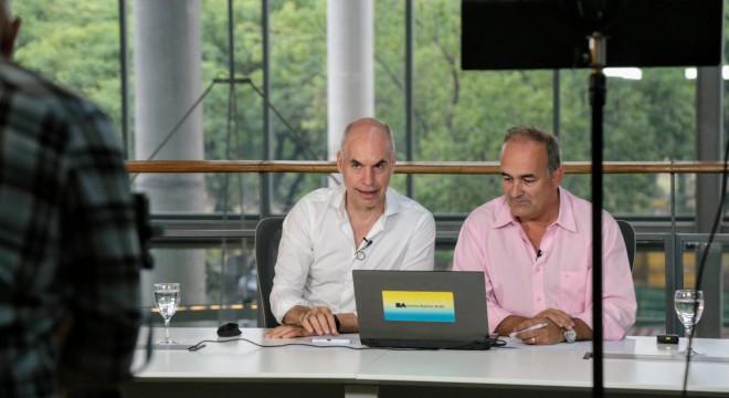 Horacio Rodríguez Larreta y el ministro de Espacio Urbano y Ambiente, Eduardo Macchiavelli.