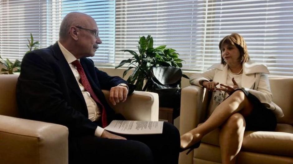 Bullrich con Vladímir Voronkov, secretario general adjunto de la Oficina de Lucha Contra el Terrorismo de la ONU.